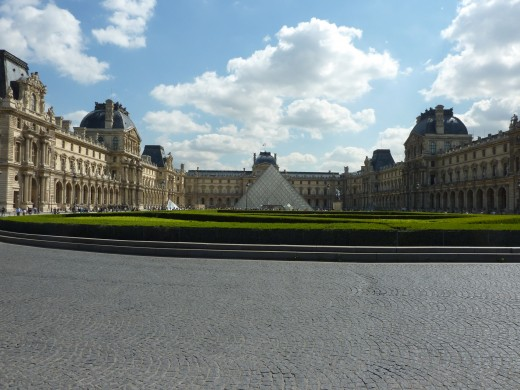 The central square in front of the Louvre Museum