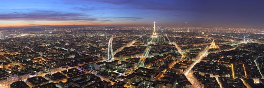 View over Paris from the Montparnasse Tower at night