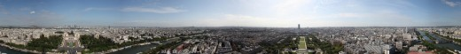 A 360 degree view over Paris from the second level of the Eiffel Tower