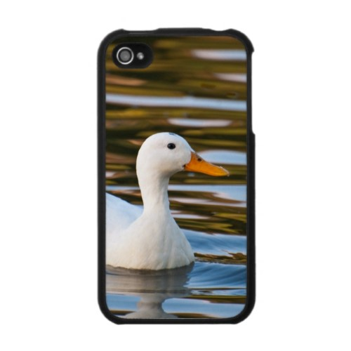 Smudge the little white duck on iPhone case.  Many of my pictures appear on cards and gifts on Zazzle.  Follow the link to browse.