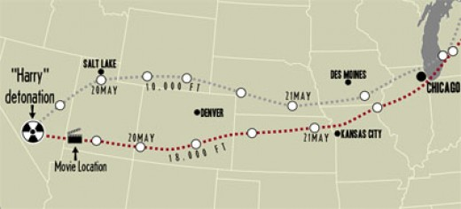 A zoom-in of the fallout path for Dirty Harry.