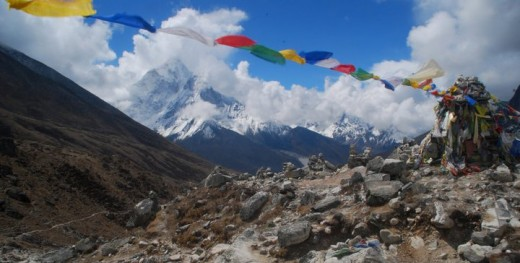 Prayer flags on the way to Mount Everest Base Camp