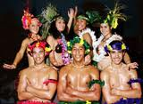 Hawaiian dancers, both male and female -- ready to entertain!