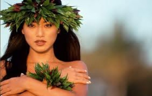 Hawaiian headdress and accessories worn by a beautiful native Hawaiian!