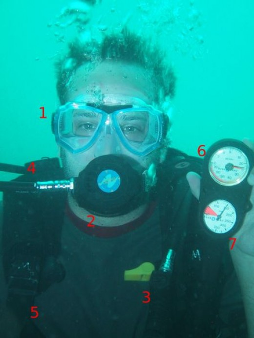 Face-and-shoulders view of a SCUBA diver, with noticeable equipment