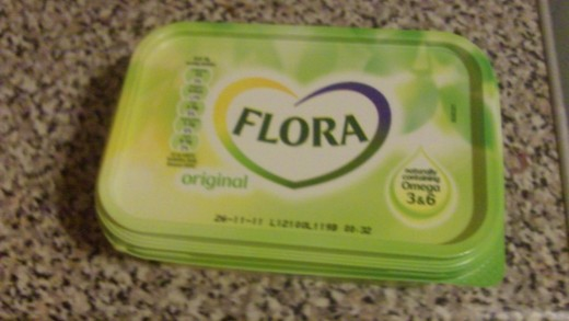 Flora healthy for your heart butter tub at the ready...