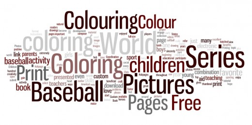 World Series Baseball Colour Pages Word Cloud Map