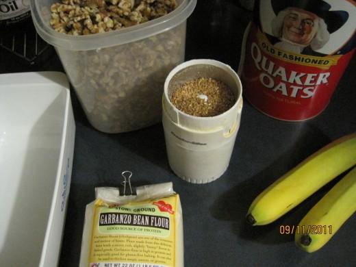 Ingredients for making garbanzo flour banana bread.
