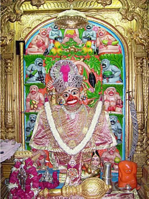 The Kashtbanjan Hanuman idol at Shri Hanuman Mandir, Sarangpur is one of the temple noted for getting rid of evil spirits