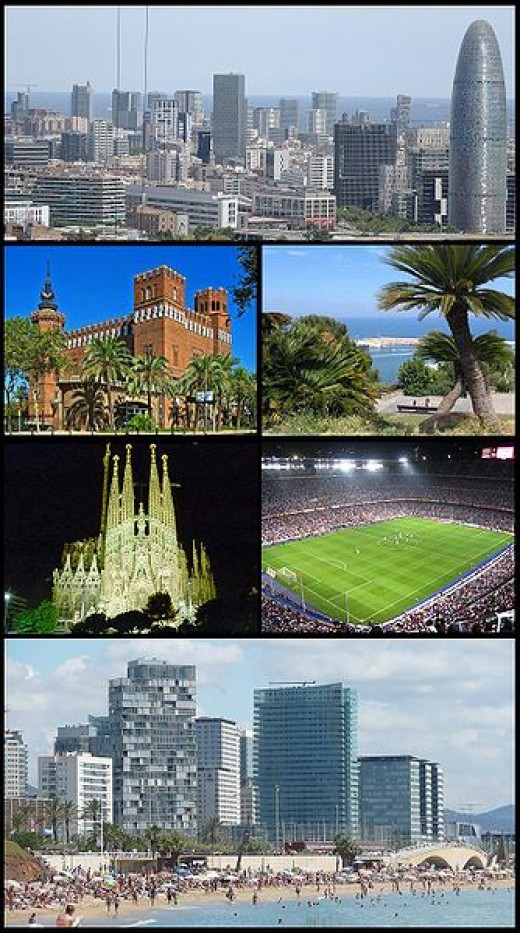 Various sites to see in beautiful Barcelona.