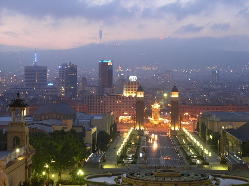 Montjuic Park and view of Barcelona at night.