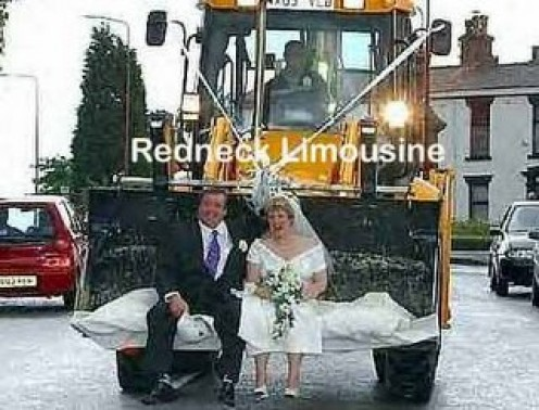 SOME SOUTHERN COUPLES WANT TO TIE THE KNOT IN AN unconventional WAY SUCH AS THIS COUPLE RIDING IN THE BUCKET OF A SKIP LOADER.