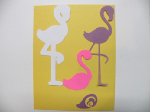 Four shapes in reverse to cut out for the flamingo