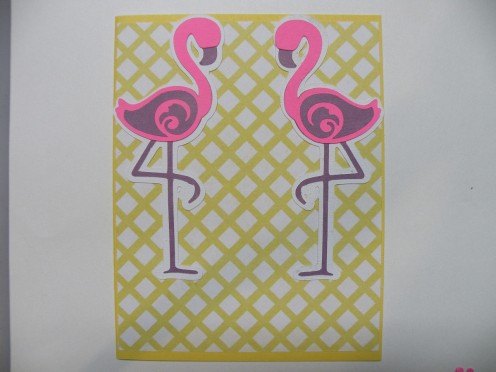 Adhere the two flamingos to the cardstock