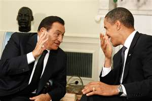 President Obama with President Mubarak