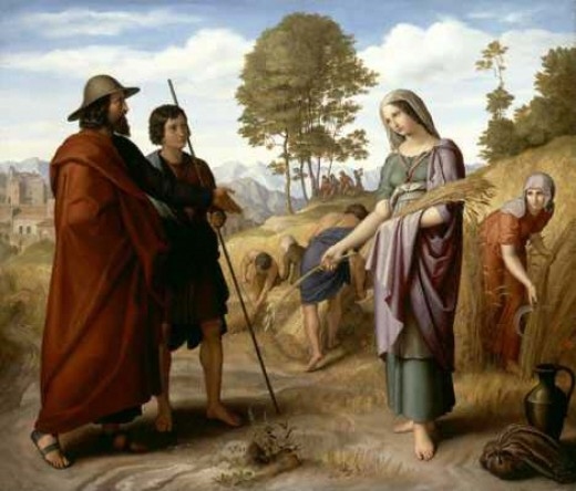 "Book of Ruth - Boaz granting Ruth permission to follow along behind his harvesters and to ""Glean"", pick-up the leftovers."
