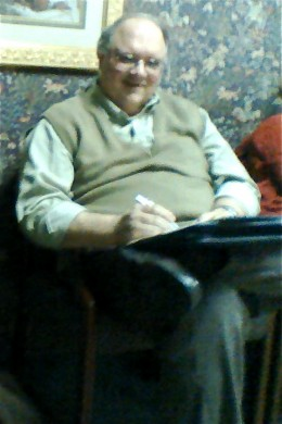 Dad in the waiting room at my ob/gyn's office toward the end of my first pregnancy.