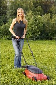 Smile as you mow your lawn safely!  You're getting valuable exercise!