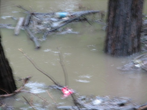 Garbage and debris fill the rising water.