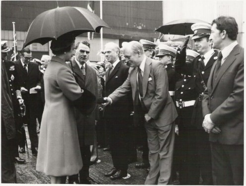 My grandfather, George Standen, meeting Queen Elizabeth in 1977.
