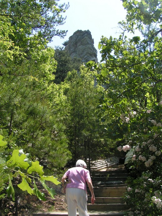 This is Mom, climbing to the base of Hanging Rock (North Carolina, 2007),