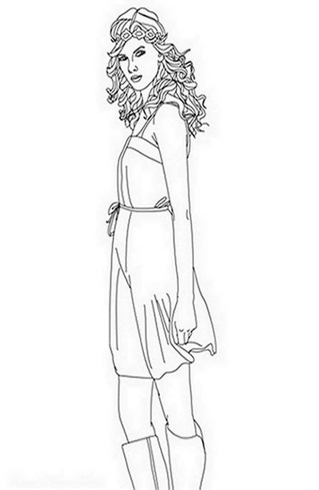 Taylor Swift Celebrity Coloring Pages to Print and Colour