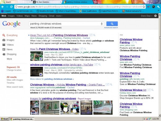 The hub I wrote about Christmas window painting is number #1 on the first page of Google. Although it is a niche topic it still took awhile for it to get this placement.The photos I included in this hub also rank on the first page of Google images.