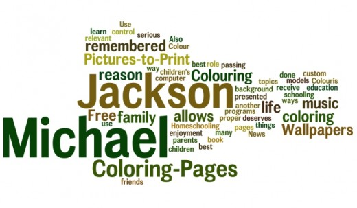 Michael Jackson Coloring Pages Word Cloud