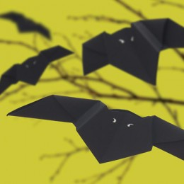 Bats can be made of black paper origami-like and hung on the ceiling