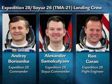 The Soyuz crew, Borisenko, Samokutyaev and Caran