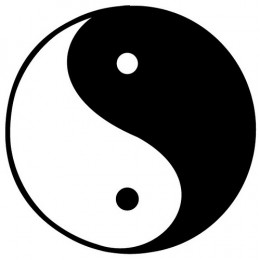 Tradition representation of Yin and Yang in balance. Sometimes the larger white portion is depicted at the top of the circle.