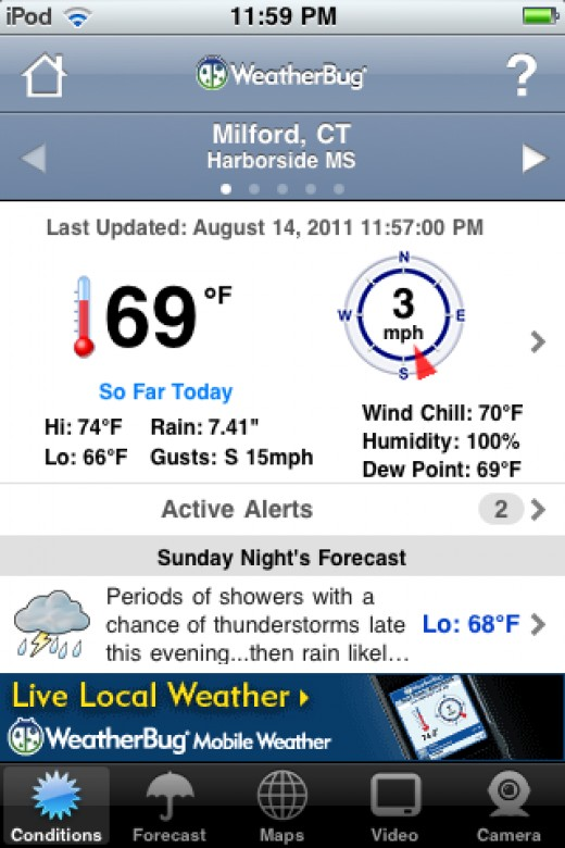 a snapshot i took off my ipod on Aug 14, 2011  notice the total rain fall for the day is at 7.41 inches!