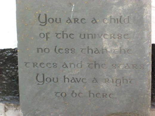 A meaningful phrase carved in slate.