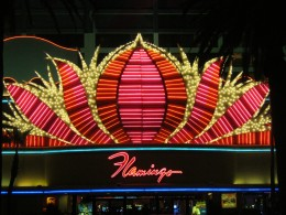 """The outside of the beautiful """"Flamingo"""" hotel here in Las Vegas! This picture was taken by my husband at night! When you visit Las Vegas, be sure to check out the flamingo habitat at the Flamingo Hotel!"""