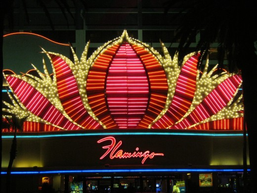 "The outside of the beautiful ""Flamingo"" hotel here in Las Vegas! This picture was taken by my husband at night! When you visit Las Vegas, be sure to check out the flamingo habitat at the Flamingo Hotel!"