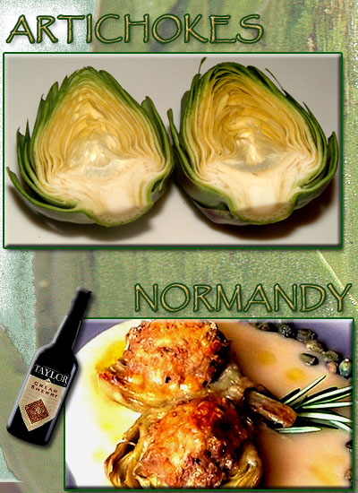 Artichokes Normandy is a creamy rich cheesy delight. Cream Sherry in the cheese sauce makes all of the difference!