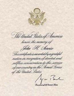 Sample of the Presidential Memorial Certificate Signed by President George W. Bush