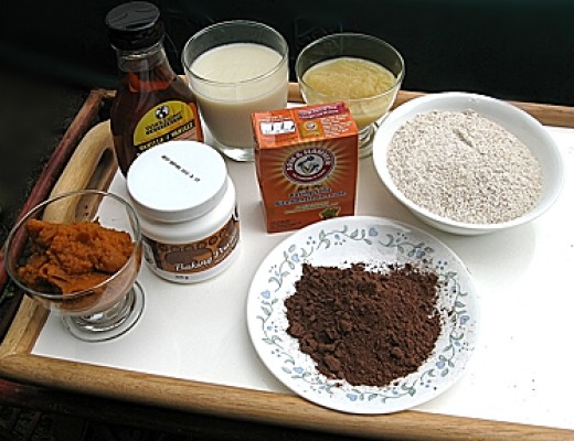 The eight ingredients for vegan chocolate muffins