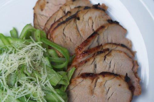 Grilled Pork Tenderloin & Asparagus Coleslaw