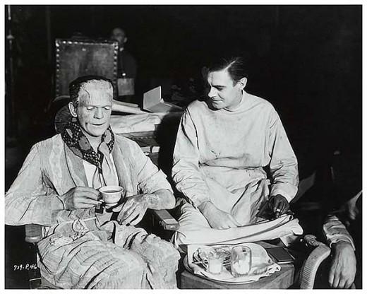 Karloff and Clive enjoy a proper spot of tea