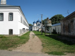 Orlov Cell Building (on left) inside Yuryev (St George) Monastery near Veliky Novgorod, Russia.