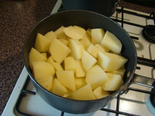 Chop up the potato into good sized chunks. Same size as if you were doing roast or boiled.