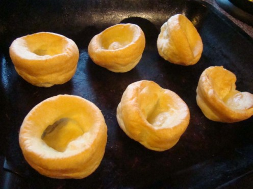 Simplicity dictates that you should just use ready made Yorkshire Puddings. You can buy frozen ones that take 4 minutes in the oven.
