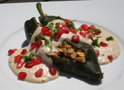 Stuffed Poblano Peppers with Walnut Sauce