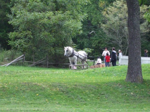 Re-enactors with horse-drawn sled.