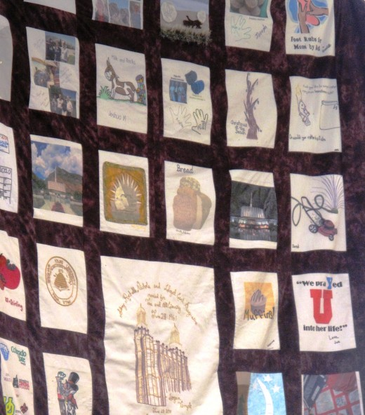 This partial view of a family history quilt made for my husband's parents on their 50th wedding anniversary included contributions from 8 grown children and input from 30 grandchildren. The finished quilt was over 10 feet long.