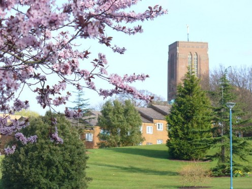 University of Surrey Campus View from the main eastern entrance towards the top of Stag Hill and Guildford Cathedral tower.