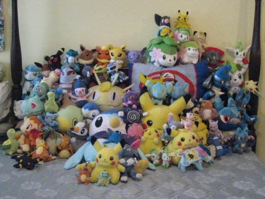 A huge collection of stuffed pokemon plushies. Only true pokemon fans have this many plushies!