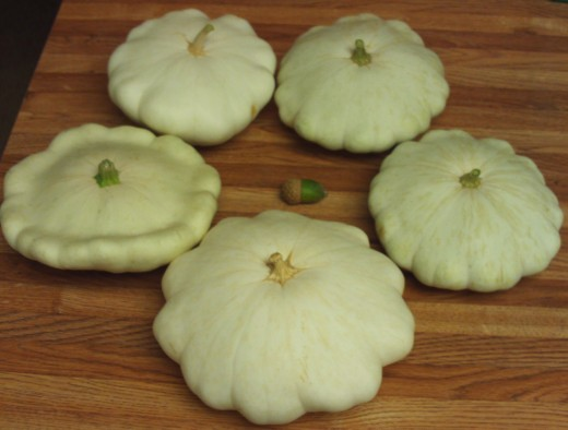 The acorn is looking for a way to get out of the patty pan squash circle.