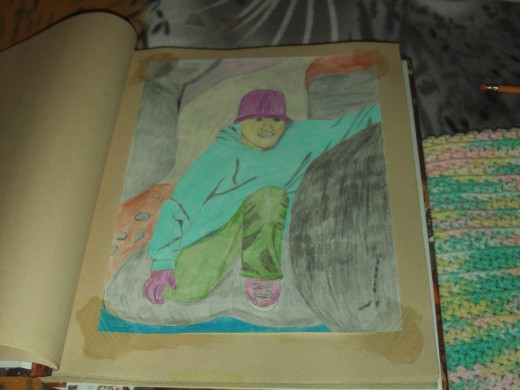 Here is a picture of the sketch I created of my nephew out at the Pinnacles.